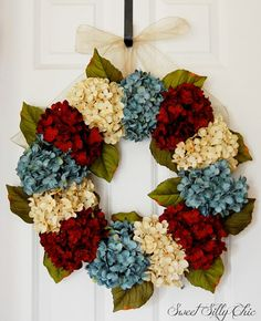 Red White Blue Hydrangea Wreath 4th of July by SweetSillyChic, $92.00