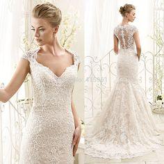 Image from http://i00.i.aliimg.com/wsphoto/v0/32215189686_1/2015-Romantic-White-Lace-Wedding-Dresses-Mermaid-Bridal-Gowns-Cap-Sleeve-Court-Train-Vestido-de-Casamento.jpg.