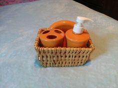 Tangerine Fiesta® Bathroom Set includes soap dish, soap dispenser, and toothbrush holder made by Homer Laughlin China Company   WorthPoint