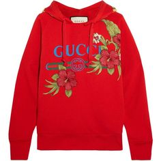 Gucci Embroidered printed cotton-jersey hooded top ($1,570) ❤ liked on Polyvore featuring tops, hoodies, sweaters, sweatshirt, gucci, distressed hoodie, logo hoodies, gucci hoodies, red top and oversized hoodies