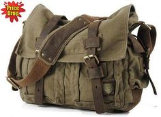 *This Military Canvas Messenger Bag is Medium size. * Army Green Color with Dual leather...