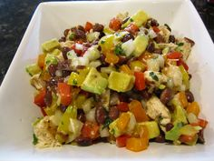 If you're looking for a great bean salad recipe, this black bean chicken salad w/ avocado