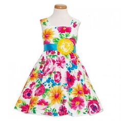 Yellow Multi Color Floral Print Spring Dress Toddler Little Girl 2T-14