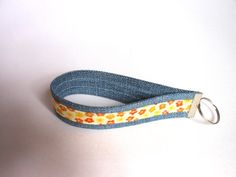 Upcycled Denim Jeans Key Ring Wristlet Key Fob Key Chain Bag Charm Teenager Children Bracelet on Etsy, £5.00