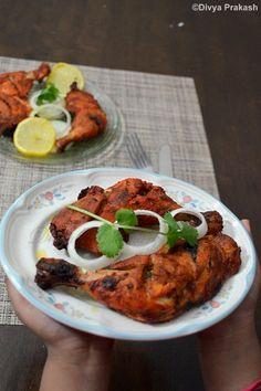 Divya's culinary journey: Tandoori Chicken Recipe   Tandoori Murgh- In Oven   Restaurant style Tandoori Chicken   Easy Oven baked Tandoori Chicken