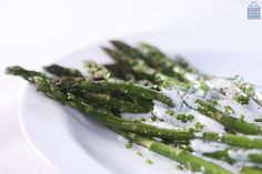 Take advantage of fresh asparagus this season. Roast it and serve with a healthy, tangy  Chive Yogurt Ranch Dressing.