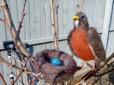 Felt Robin with nest by susio on Etsy, $45.00