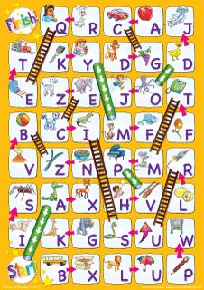"""Uppercase Alphabet Chutes & Ladders"" Game from Super Simple Learning. #kindergarten #earlyelementary #ESL"