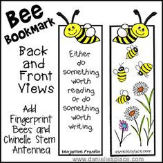 Bee Bookmark Craft and Writing Activity from www.daniellesplace.com