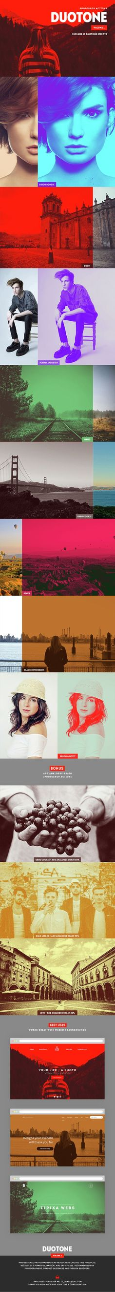 Duotone Photoshop Actions (V.1) #vintage #web • Available here → http://graphicriver.net/item/duotone-photoshop-actions-v1/15404335?ref=pxcr
