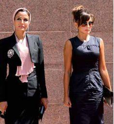Two of my favorite ladies together. Sheikha Mozah of Qatar and Mehriban Alieva (first lady of Azerbaijan) Workwear Fashion, Hijab Fashion, Fashion Outfits, Royal Fashion, Timeless Fashion, My Life Style, My Style, First Ladies, Princess Style