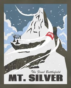 """Pokemon Travel Poster - Mt. Silver: A"""" hallowed mountain that rises between the Johto and Kanto regions."""" (Commissioned work)"""