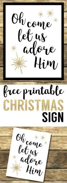 Oh Come Let Us Adore Him Printable Christmas Decor. Religious Christ centered Christmas printable sign. Easy Christmas decorations printable sign. #papertraildesign #Christmasdecor #Christmas