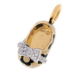 beige and black flower enamel shoe on 18k gold with diamond bow of .11 cts