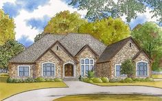 3-Bed House Plan with Massive Grilling Porch with Fireplace - 70562MK thumb - 01