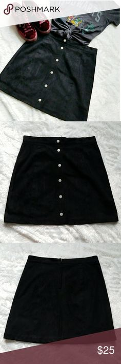 H&M Black Suede Skirt!!! New black suede button up skirt by H&M. Super cute. Comes from a smoke-free pet-free home. Fast shipping! NO TRADES! H&M Skirts
