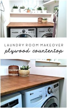 Countertops Laundry Room Makeover: DIY Plywood Countertop - The Ugly Duckling House - This DIY wood countertop project was inexpensive and able to complete with one person for installation. See how it transformed this laundry room overnight! Tiny Laundry Rooms, Laundry Room Shelves, Laundry Room Remodel, Laundry Room Organization, Small Laundry, Laundry Room Design, Basement Laundry, Laundry Room Makeovers, Laundry Closet Makeover