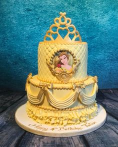 Beauty and the beast - Belle - cake by Maria-Louise Cakes - CakesDecor Beauty And The Beast Cake Birthdays, Beauty And Beast Birthday, Beauty And The Beast Theme, Beauty And The Best, Disney Beauty And The Beast, Belle Birthday Cake, Baby Girl Birthday, Disney Birthday, Birthday Cakes