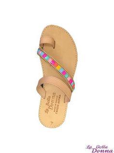 La Bella Donna - Χειροποιητα σανδαλια - Αφροδιτη πολυχρωμη τρεσα Flip Flops, Sandals, Shoes, Fashion, Moda, Zapatos, Shoes Outlet, Beach Sandals, Fasion