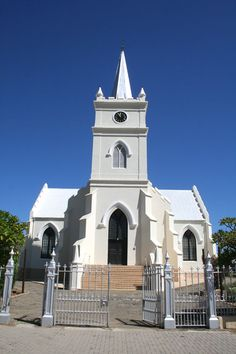 A church in Prince Albert. Places Around The World, Around The Worlds, Cape Dutch, Rubber Raincoats, Pen Drawings, South African Artists, Church Building, Prince Albert, Place Of Worship
