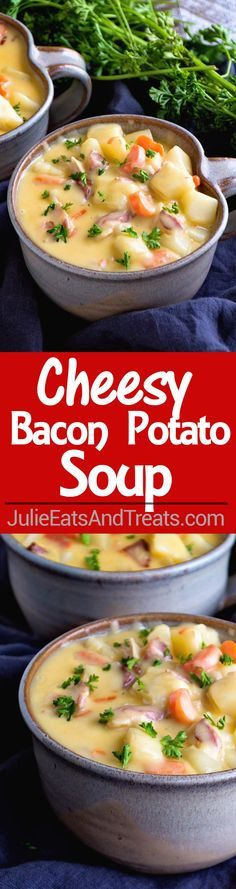 Cheesy Bacon Potato Soup Recipe ~ Comforting, Delicious, Easy Soup Recipe Full of Potatoes, Bacon