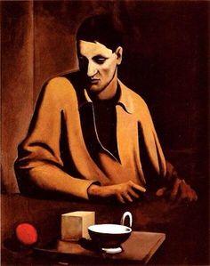 """""""Jeune homme avec boule rouge"""" 1925 par Mario Sironi (1885-1961)"""