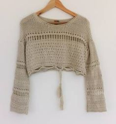 Crochet Jumper, Crochet Poncho Patterns, Crochet Crop Top, Crochet Blouse, Diy Crochet, Knitwear Fashion, Knit Fashion, Summer Knitting, Crochet Clothes