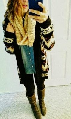 Winter Outfit With Aztec Cardigan and Oversized Scarf. #fall
