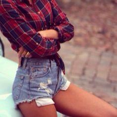 plaid shirt + levis