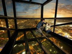 Glass-Bottomed Attractions: 11 Spectacular Views At Terrifying Heights. The Eureka Tower claims to be the tallest residential tower in the entire Southern Hemisphere. You can take in the view from the 360-degree observation deck or open-air terrace, but, for a little bit of extra cash, you can step into The Edge—a glass cube that sticks out nearly 10 feet from the rest of the building, more than 980 feet