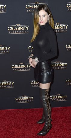 Bella Thorne attends The Celebrity Experience Bella Throne Hot, Girl Celebrities, Celebs, Belle Thorne, Bella Thorne And Zendaya, Botas Sexy, Famous Girls, Sexy Boots, Dress With Boots