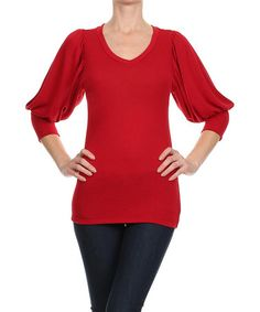 This Red Fleece Puff-Sleeve V-Neck Top is perfect! #zulilyfinds         cool sleeves