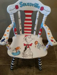 Seuss Chair hand painted by JaxxNJillz on Etsy Hand Painted Chairs, Hand Painted Furniture, Funky Furniture, Paint Furniture, Kids Furniture, Graffiti Furniture, Whimsical Painted Furniture, Painted Stools, Dr Seuss Chairs