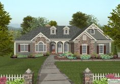 roof line.. get rid of the dormers and I like the front porch.  Don't like shutters and weird trim on peaks.