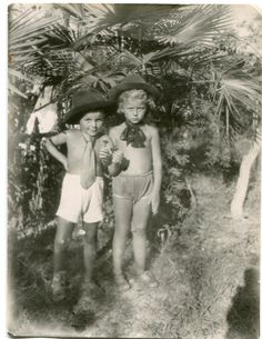 SUPER FUNNY! Two 1950's Russian boys in funny costumes: underpants, ties and hats, holding flowers, summer ORIGINAL vintage photo by PhotoMemoriesLane on Etsy