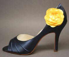 Wedding Shoes  Navy Blue Peeptoes with by DesignYourPedestal