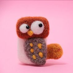 Needle Felted Felting Animals Owl Cute Brooch Jewelry