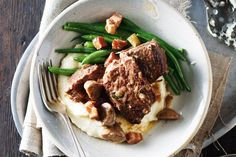 Beef Recipes :Port-braised Beef, Speck & Mushrooms