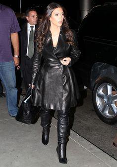Kim Kardashian - Leather Trench Coat & Knee-High Boots