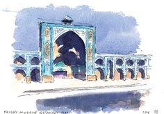 Iran, Esfahan. Watercolour by Ole Sondergaard.