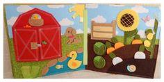Quiet book - farma, manasci, pejsek, kacenka, slunecnice, pole, zelenina