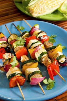 These tasty kabobs feature tofu as well as vegetables, so if you are looking for a vegetarian equivalent to a chicken shish kabob with vegetable pieces or a grilled beef vegetable kabob, tofu is a very good replacement. You can serve these delicious veggie kabobs over brown rice or with noodles.