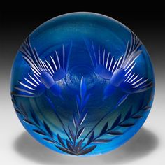 ken rosenfeld paperweights | ... blue surface-design paperweight by Vandermark-Merritt Studios