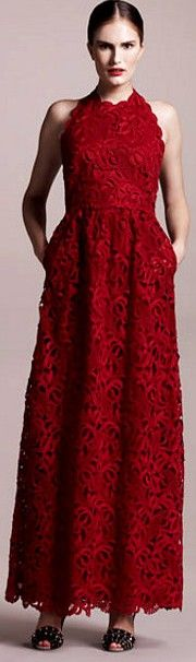 Valentino red lace Halter Gown♥✤ | Keep the Glamour | BeStayBeautiful