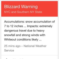 Menimme Floridaan: tuli tornadovaroitus. Saavuimme Nykiin: tuli lumimyrskyvaroitus. Uutisten mukaan tämä alue valmistautuu poikkeustilaan. #tembustravels