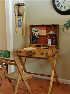 Vintage Suitcase Turned Campaign Desk and Crutches Turned Tripod Lamp