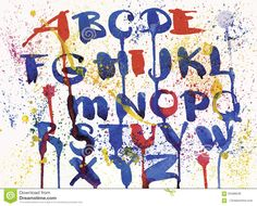 Watercolor Hand Drawn Alphabet. Vector Illustration. Brush Painted Letters. Stock Vector - Image: 59486646