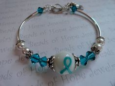 Ovarian Cancer Awareness Bracelet Swarovski by BeadsofHopeJewelry