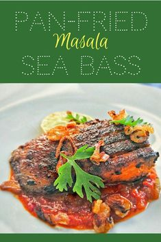 If you love fish this pan-fried masala sea bass hasgot everything to tantalise your taste buds. Hero of this dish is a perfectly fried sea bass fillet with agreat balance of flavours. It's served on a tomato-chilli paste and garnished with fried shall Great Recipes, Snack Recipes, Dinner Recipes, Favorite Recipes, Healthy Recipes, Sweets Recipes, Top Recipes, Simple Recipes, Cocktail Recipes
