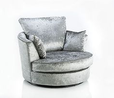 Our Jupiter Grey Silver Crushed Velvet Swivel Love Chair has a sleek modern design, with a soft backing that allows you to sink into it's luxury.